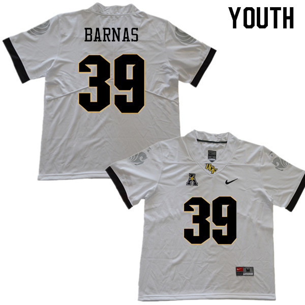 Youth #39 Dylan Barnas UCF Knights College Football Jerseys Sale-White