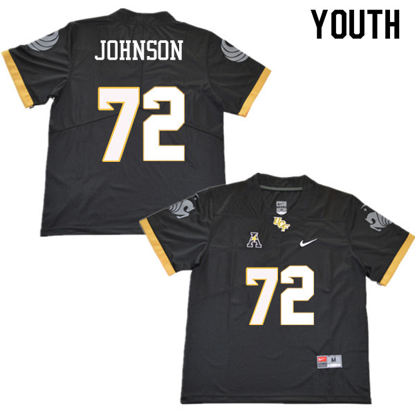 Youth #72 Jordan Johnson UCF Knights College Football Jerseys Sale-Black